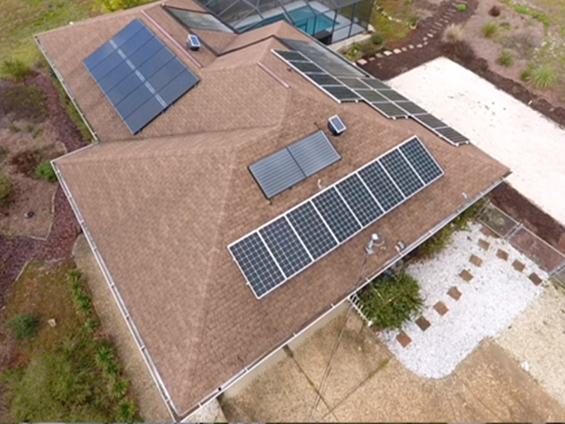 solar panels on all sides of a house getting energy from the sun