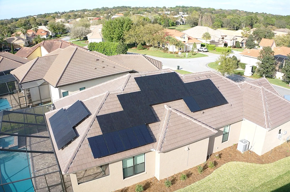 residential solar panels on two sides of house in florida